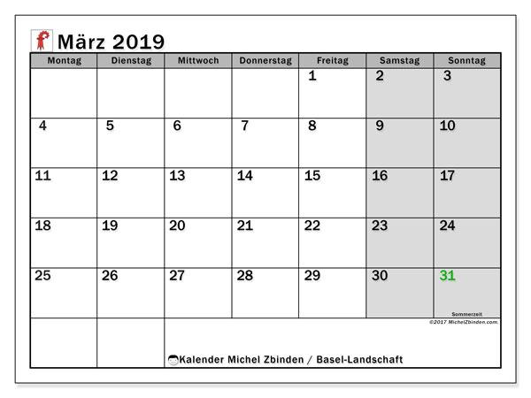 Kalender für März 2019, mit Feiertagen des Kantons Basel Landschaft. Kalender für den Monat zum kostenlosen Ausdrucken.