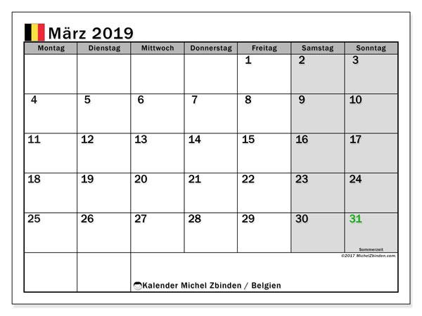 Kalender für März 2019, mit Feiertagen in Belgien. Kostenloser Planer zum ausdrucken.