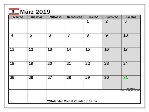 Kalender für März 2019, mit Feiertagen Berlin. Zeitplan zum kostenlosen ausdrucken.