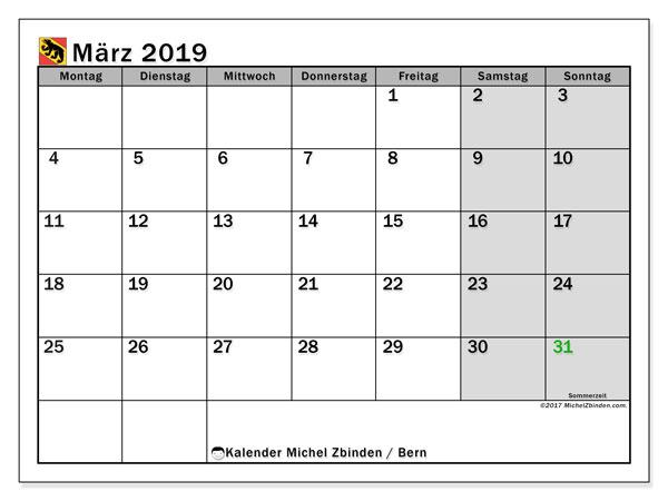 Kalender für März 2019, mit Feiertagen des Kantons Bern. Monatskalender zum kostenlosen ausdrucken.