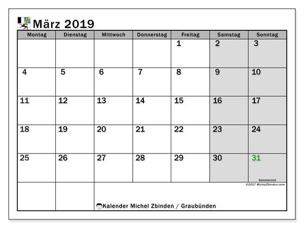 Kalender für März 2019, mit Feiertagen des Kantons Graubünden. Kostenloser Planer zum ausdrucken.