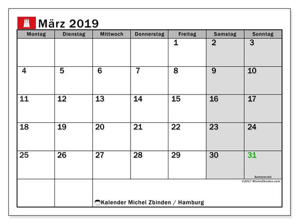Kalender für März 2019, mit Feiertagen Hamburg. Planer zum kostenlosen ausdrucken.