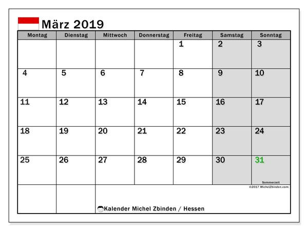 Kalender für März 2019, , mit Feiertagen Hessen. Planer zum kostenlosen ausdrucken.