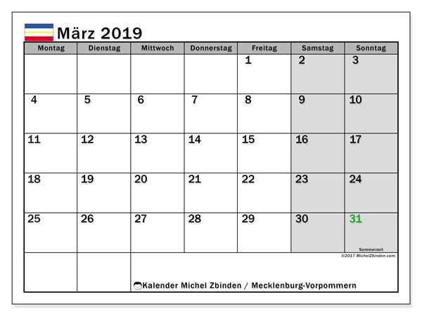Kalender für März 2019, , mit Feiertagen Mecklenburg-Vorpommern. Kostenlos ausdruckbare Zeitplan.