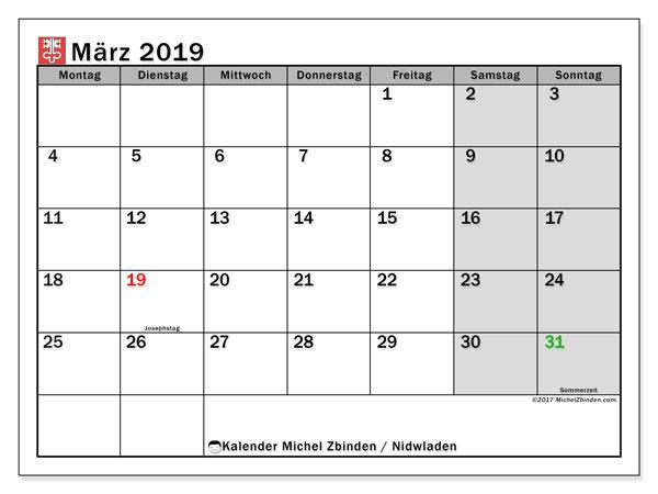 Kalender für März 2019, mit Feiertagen des Kantons Nidwalden. Zeitplan zum kostenlosen ausdrucken.