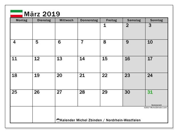 Kalender für März 2019, , mit Feiertagen Nordrhein-Westfalen. Kostenloser Planer zum ausdrucken.