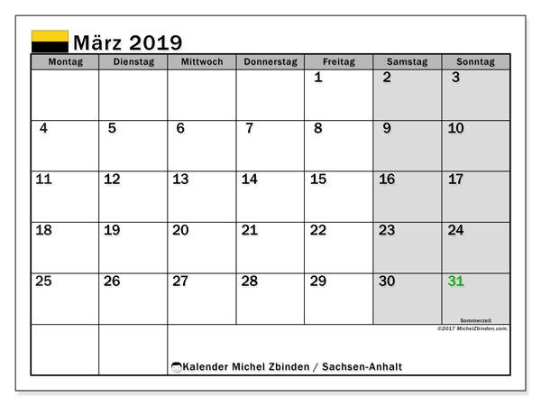 März 2019 Kalender  - Sachsen-Anhalt. Kalender zum drucken: Offizielle Feiertage.
