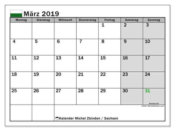 Kalender März 2019, mit den Feiertagen in Sachsen. Kalender mit Feiertagen zum kostenlosen ausdrucken.