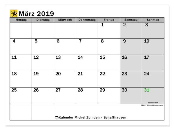 Kalender für März 2019, , mit Feiertagen des Kantons Schaffhausen. Kostenloser Kalender zum ausdrucken.