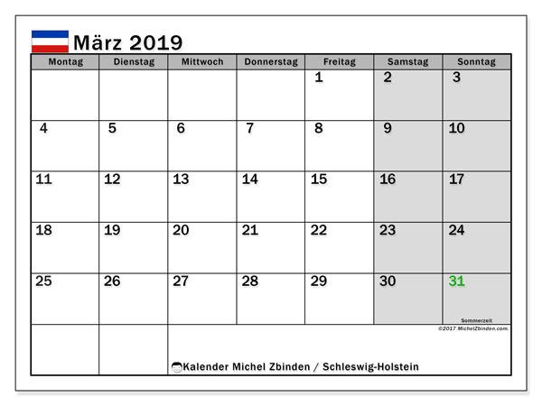 Kalender für März 2019, , mit Feiertagen Schleswig-Holstein. Kostenloser Planer zum ausdrucken.