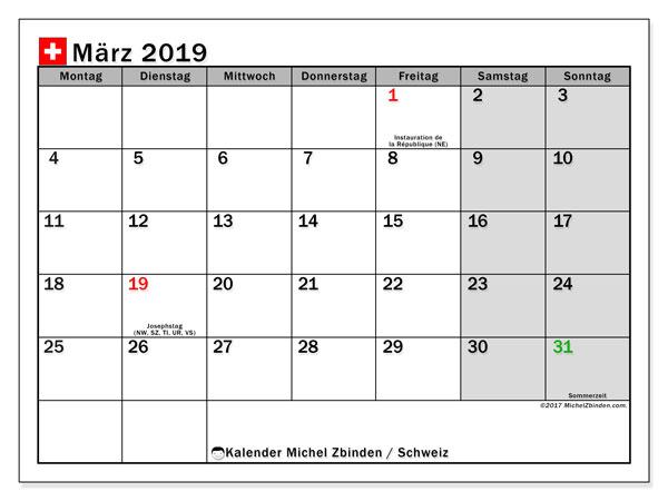 Kalender für März 2019, mit Feiertagen in der Schweiz. Kostenloser Planer zum ausdrucken.