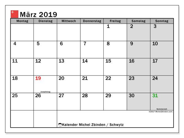 Kalender für März 2019, , mit Feiertagen des Kantons Schwytz. Kostenlos ausdruckbare Zeitplan.