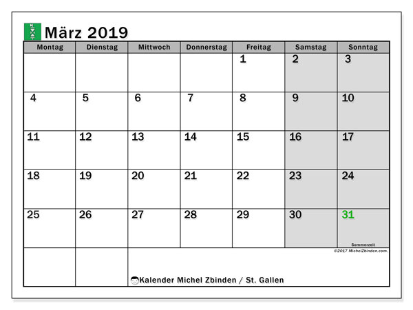 Kalender für März 2019, , mit Feiertagen des Kantons St. Gallen. Monatlicher Zeitplan zum kostenlosen ausdrucken.