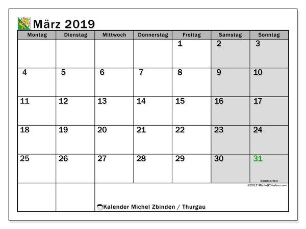 Kalender für März 2019, , mit Feiertagen des Kantons Thurgau. Zeitplan zum kostenlosen ausdrucken.