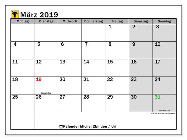 Kalender für März 2019, mit Feiertagen des Kantons Uri. Kostenlos ausdruckbare Zeitplan.