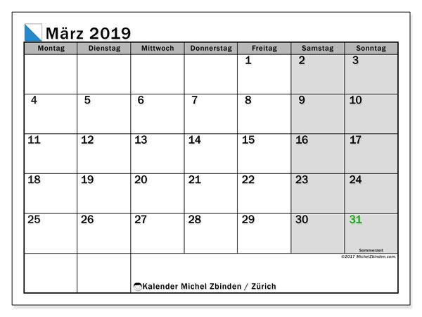 März 2019 Kalender  - Zürich. Kalender zum drucken: Feiertage.
