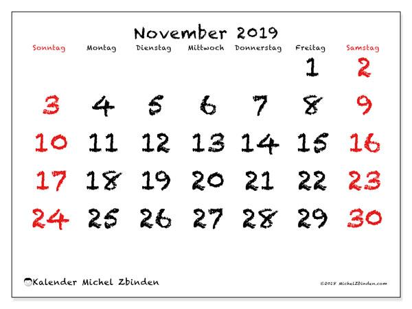 Kalender November 2019, 46SS. Monatlicher Kalender zum kostenlosen ausdrucken.