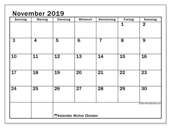 Kalender November 2019, 50SS. Kostenloser Zeitplan zum ausdrucken.
