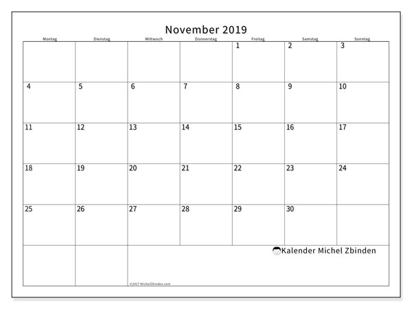 Kalender November 2019, 53MS. Planer zum kostenlosen ausdrucken.