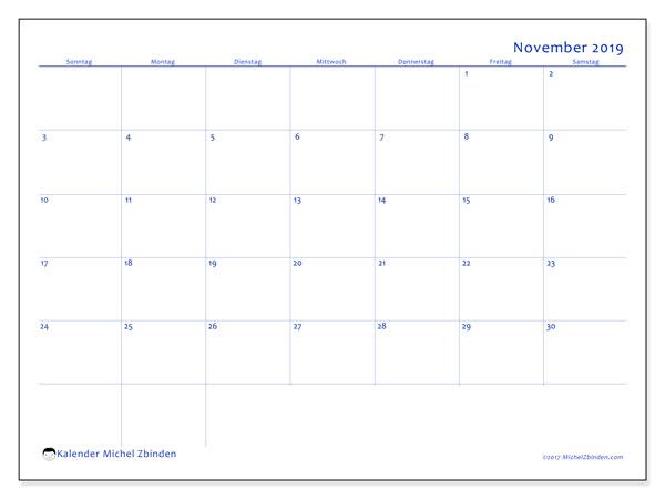 Kalender November 2019, 55SS. Monatskalender zum kostenlosen ausdrucken.
