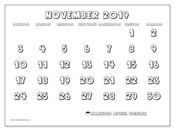 Kalender November 2019, 56SS. Kostenloser Planer zum ausdrucken.