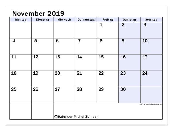 Kalender November 2019, 57MS. Kalender für den Monat zum kostenlosen ausdrucken.