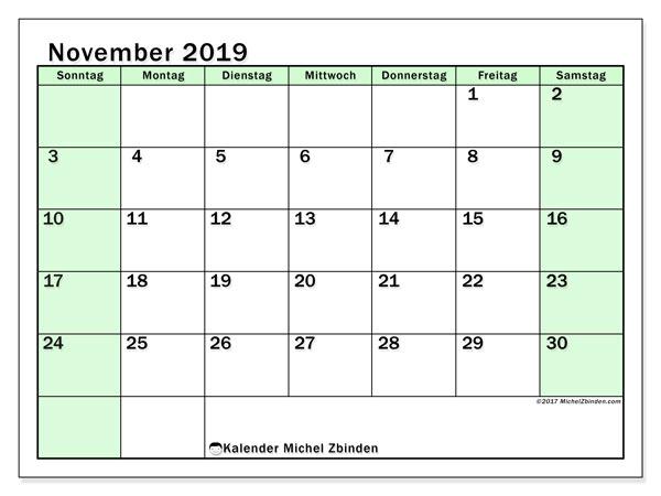 Kalender November 2019, 60SS. Monatskalender zum kostenlosen ausdrucken.