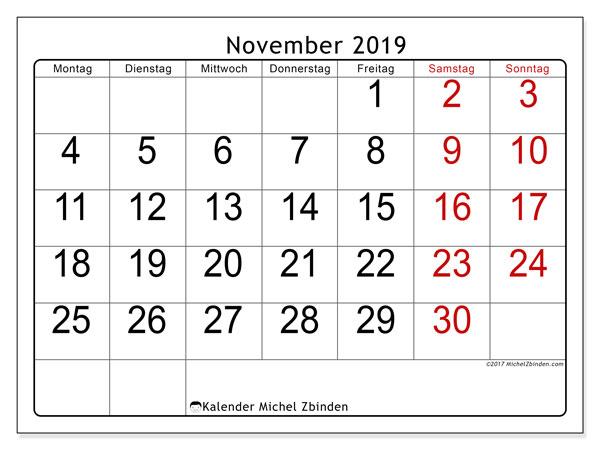 Kalender November 2019, 62MS. Kostenlos ausdruckbare Planer.