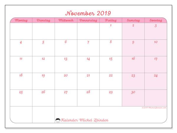 Kalender November 2019, 63MS. Zeitplan zum kostenlosen ausdrucken.