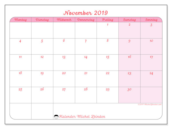 Kalender November 2019, 63MS. Kostenlos ausdruckbare Kalender.