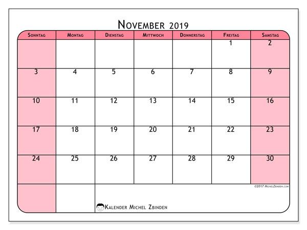Kalender November 2019, 64SS. Monatlicher Kalender zum kostenlosen ausdrucken.