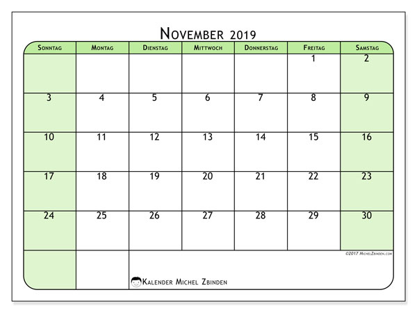 Kalender November 2019, 65SS. Kalender für den Monat zum kostenlosen ausdrucken.