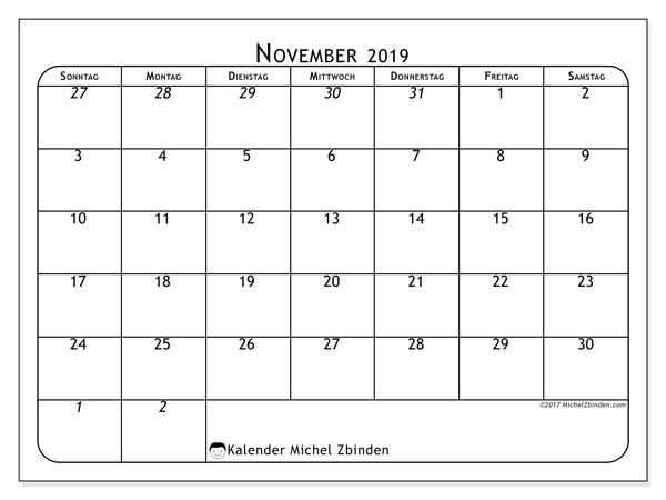 Kalender November 2019, 67SS. Zeitplan zum kostenlosen ausdrucken.