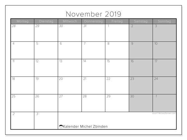 Kalender November 2019, 69MS. Monatlicher Kalender zum kostenlosen ausdrucken.