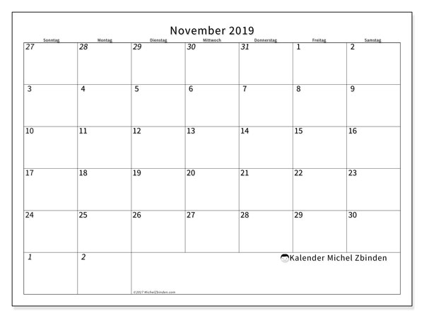 Kalender November 2019, 70SS. Kostenloser Planer zum ausdrucken.