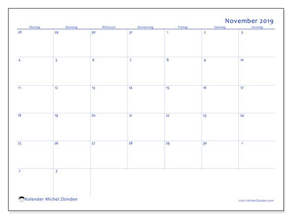 Kalender November 2019, 73MS. Kalender zum kostenlosen ausdrucken.