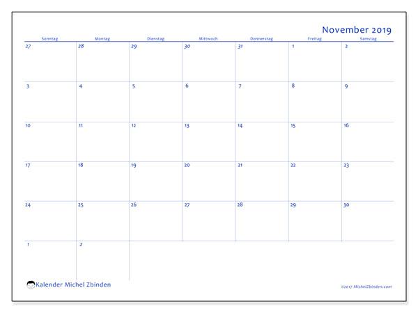 Kalender November 2019, 73SS. Kalender für den Monat zum kostenlosen ausdrucken.