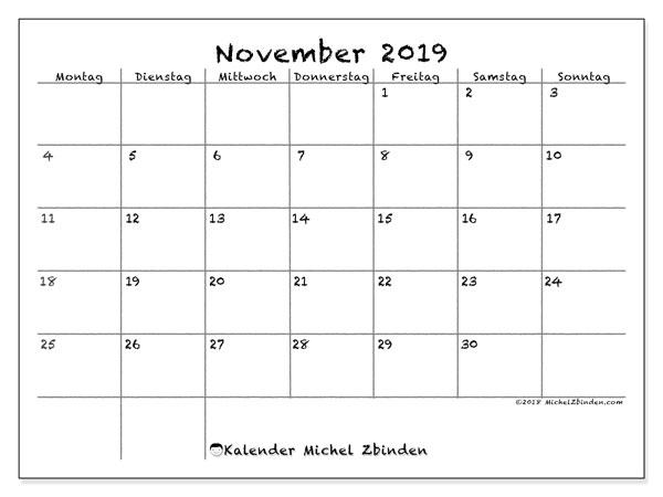 Kalender November 2019, 77MS. Monatskalender zum kostenlosen ausdrucken.
