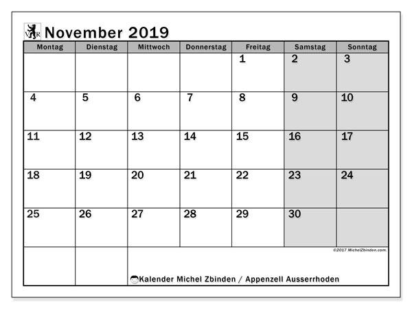 Kalender November 2019, mit den Feiertagen des Kantons Appenzell Ausserrhoden. Kalender mit Feiertagen zum kostenlosen ausdrucken.