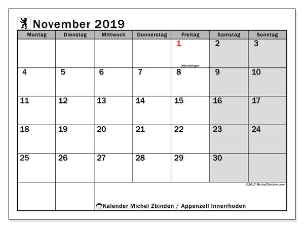 Kalender November 2019, mit den Feiertagen des Kantons Appenzell Innerrhoden. Kalender mit Feiertagen zum kostenlosen ausdrucken.