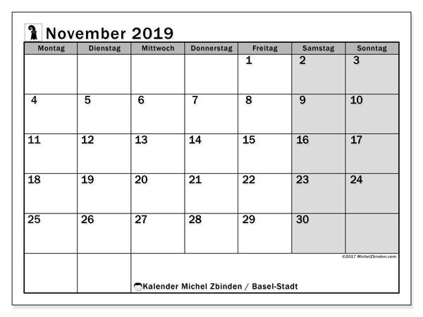 Kalender November 2019, mit den Feiertagen des Kantons Basel Stadt. Kalender Feiertage frei zum ausdrucken.