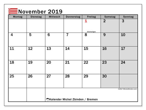 Kalender für November 2019, mit Feiertagen Bremen. Zeitplan zum kostenlosen ausdrucken.