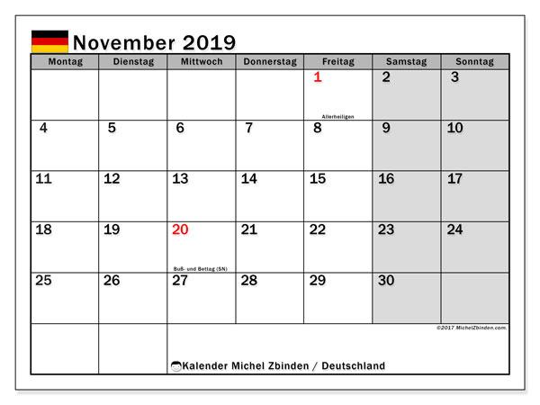 Kalender für November 2019, , mit Feiertagen Deutschland. Planer zum kostenlosen ausdrucken.