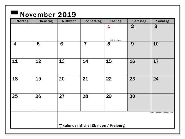 Kalender November 2019, mit den Feiertagen des Kantons Freiburg. Kalender Feiertage frei zum ausdrucken.
