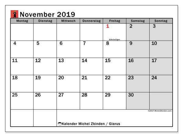 Kalender für November 2019, mit Feiertagen des Kantons Glarus. Kalender für den Monat zum kostenlosen Ausdrucken.