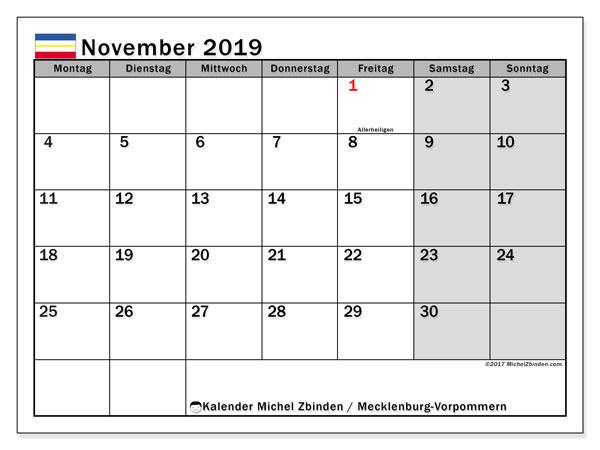 Kalender November 2019, mit den Feiertagen in Mecklenburg-Vorpommern. Kalender Feiertage frei zum ausdrucken.