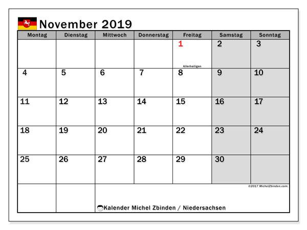 Kalender November 2019, mit den Feiertagen in Niedersachsen. Kalender mit Feiertagen zum kostenlosen ausdrucken.
