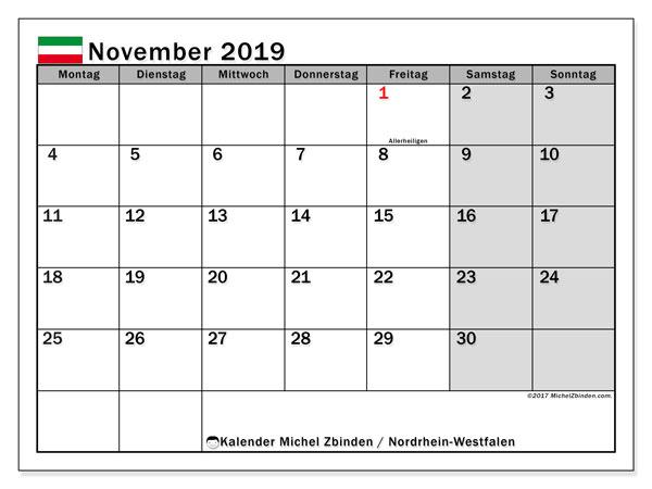 Kalender November 2019, mit den Feiertagen in Nordrhein-Westfalen. Kalender Feiertage frei zum ausdrucken.