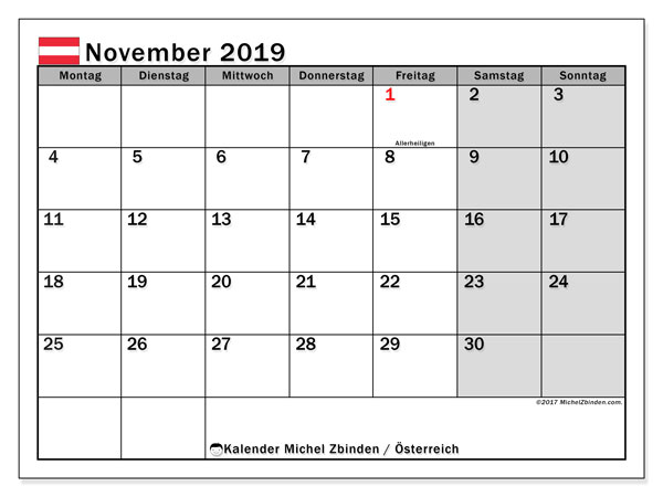 Kalender für November 2019, mit Feiertagen in Österreich. Kostenlos ausdruckbare Kalender.