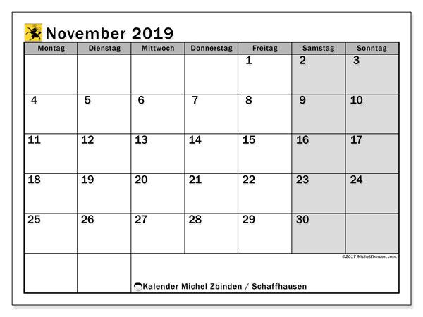 Kalender für November 2019, mit Feiertagen des Kantons Schaffhausen. Kostenlos ausdruckbare Planer.